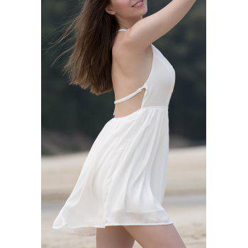 Sexy Women's Spaghetti Strap White Open Back Summer Dress