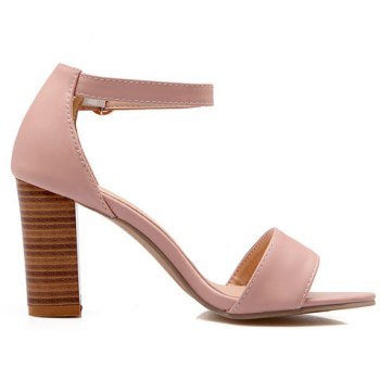 Fashionable PU Leather and Ankle Strap Design Women's Sandals - PINK 38