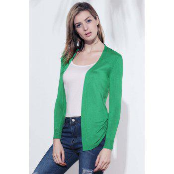 Fashional Manches longues Maille Cardigan - Vert ONE SIZE