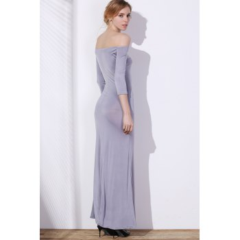 Chic 3/4 Sleeve Off-The-Shoulder Pure Color Women's Maxi Dress - GRAY S
