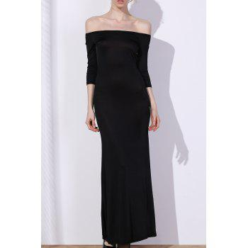 Chic 3/4 Sleeve Off-The-Shoulder Pure Color Women's Maxi Dress