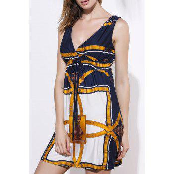 Sexy Printed V-Neck Sleeveless Dress For Women - YELLOW ONE SIZE