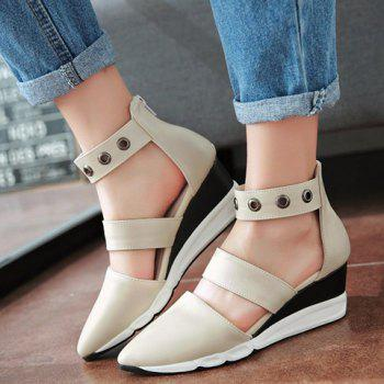 Fashionable Zipper and Pointed Toe Design Women's Wedge Shoes - 35 35