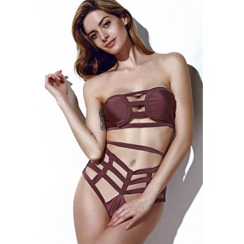 Strapless Openwork Bandage Bikini Set For Women - COFFEE XL