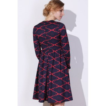 Argyle Fit and Flare Dress - M M