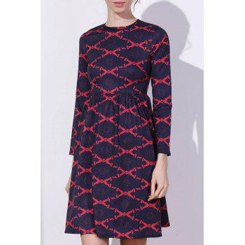 Robe Argyle Fit et Flare - Rouge L