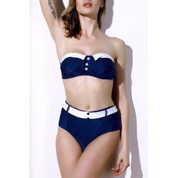 Vintage Color Block Buttoned Bikini Suit For Women