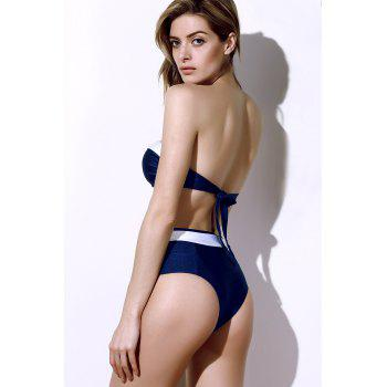 Vintage Color Block Buttoned Bikini Suit For Women - PURPLISH BLUE L