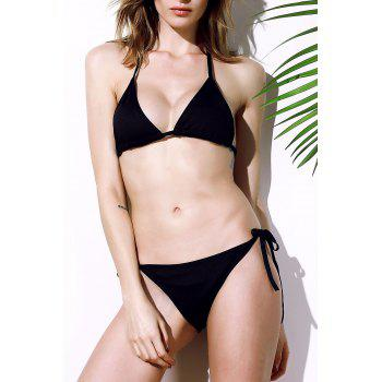 Trendy Solid Color Lace-Up Halterneck Bikini Set For Women - BLACK BLACK