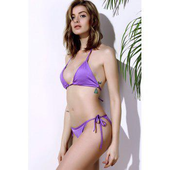 Trendy Solid Color Lace-Up Halterneck Bikini Set For Women - S S