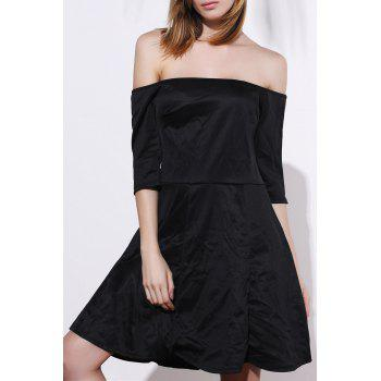 Sexy Half Sleeve Off-The-Shoulder Plus Size Women's Black Dress