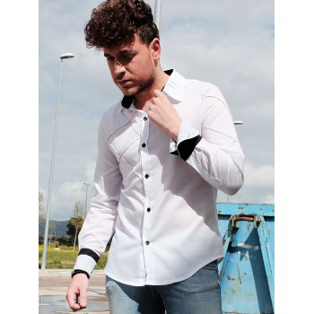 Trendy Checked Sutures Design Shirt Collar Long Sleeve Slimming Men's Polyester Shirt - M M