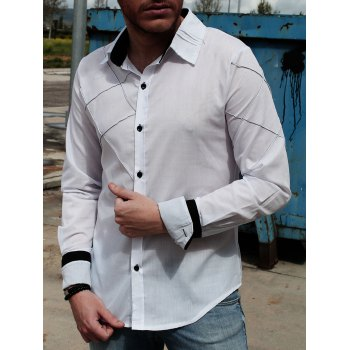 Trendy Checked Sutures Design Shirt Collar Long Sleeve Slimming Men's Polyester Shirt - WHITE WHITE