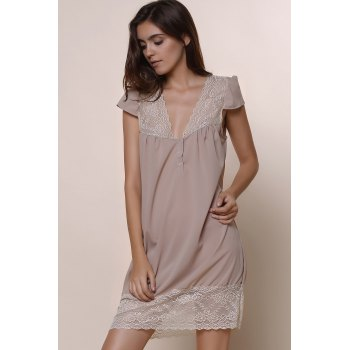 Sexy Plunging Neck Short Sleeve Solid Color Laciness Women's Dress - KHAKI M