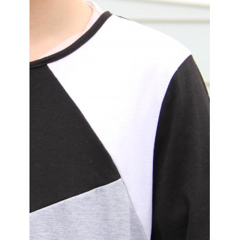 Round Neck Long Sleeves Multicolor Panel T-Shirt - BLACK 2XL
