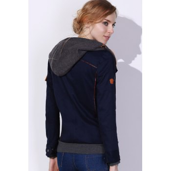 Charming Hooded Skew Zippered Long Sleeve Thick Hoodie For Women - DEEP BLUE L