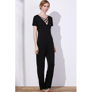 Charming Hollow Out Lace-Up V-Neck Solid Color Wide-Leg Jumpsuit For Women - BLACK XL