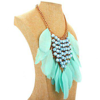 Feathers Tassel Bead Layered Necklace - GREEN