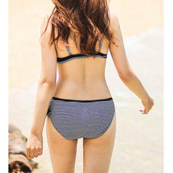 Stylish Stand-Up Collar Long Sleeves Stripe Print Patchwork Women's Swimsuit - BLACK M