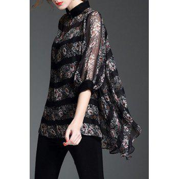 Trendy Women's Stand Collar Flower Print Asymmetric Batwing Blouse - BLACK XL