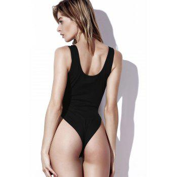 Charming Plunging Neck Hollow Out Solid Color Women's Swimwear - BLACK S
