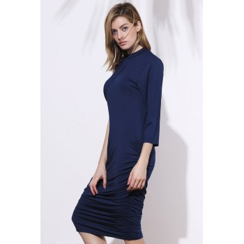 Stylish Stand-Up Collar 3/4 Sleeve Ruched Women's Plus Size Dress - SAPPHIRE BLUE 2XL