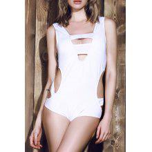Trendy White Various Hollow Out Elastic One-Piece Swimwear For Women