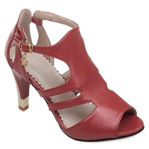 Hollow Out Peep Toe Pumps - RED 38