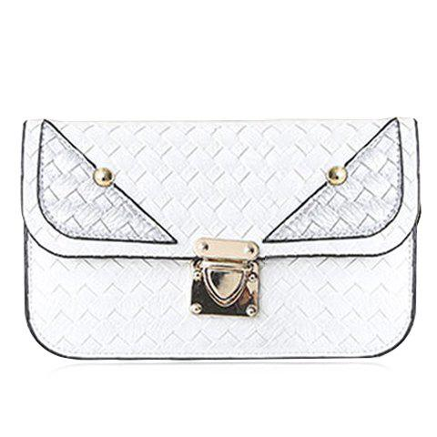 Casual Color Block and Hasp Design Women's Crossbody Bag - WHITE