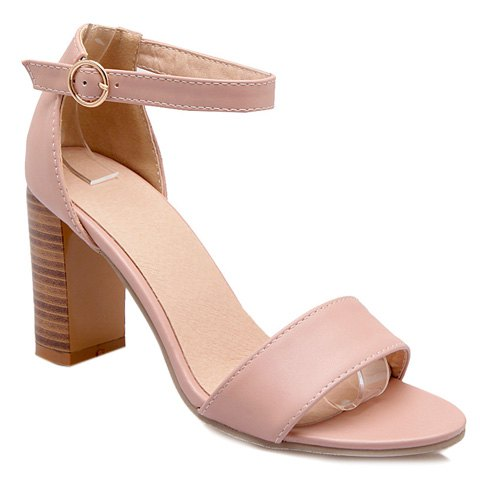 Fashionable PU Leather and Ankle Strap Design Women's Sandals - PINK 36