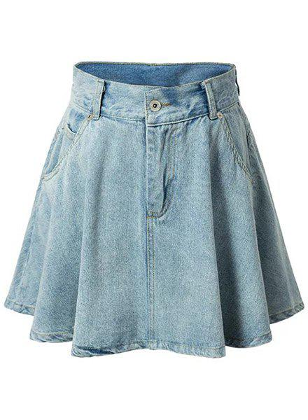 Fashionable High-Waist Buttoned Design Solid Color Women's Denim Skirt - LIGHT BLUE M