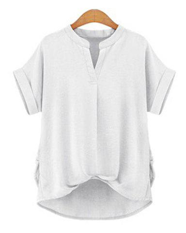 Chic Plus Size Stand Collar Short Sleeve Asymmetrical Blouse For Women - WHITE XL