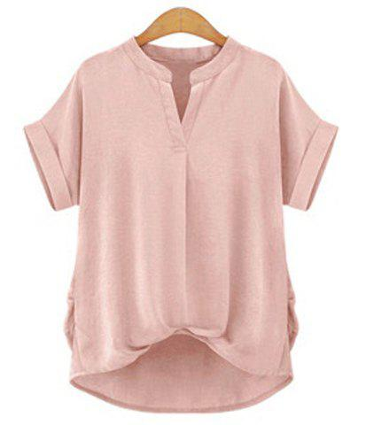 Chic Plus Size Stand Collar Short Sleeve Asymmetrical Blouse For Women - LIGHT PINK L