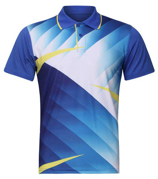 Turn Down Formation Badminton T-shirt col Quick Dry Hommes  's - Bleu clair S