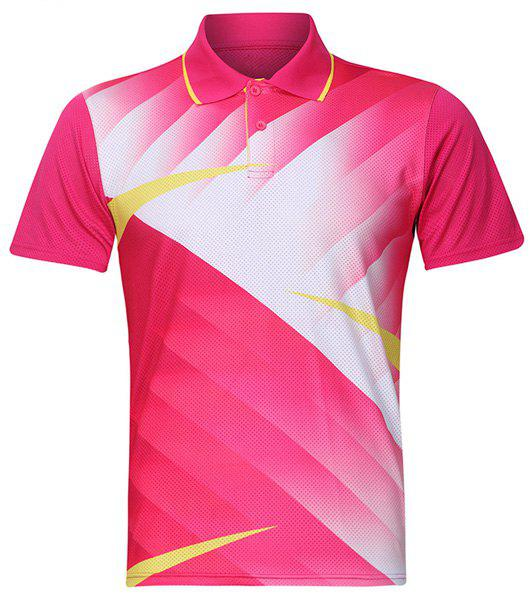 Turn Down Formation Badminton T-shirt col Quick Dry Hommes  's - Rose XL