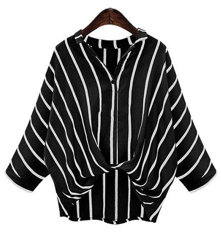 Chic Plus Size Turn-Down Collar Batwing Sleeve High-Low Hem Striped Blouse For Women - BLACK XL
