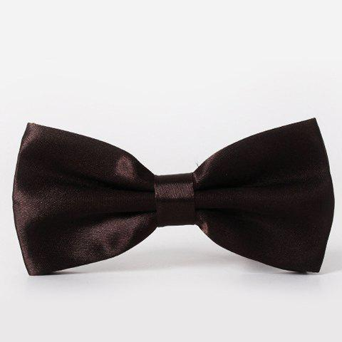 Stylish Men's Solid Color Smooth Satin Bow Tie - DEEP BROWN