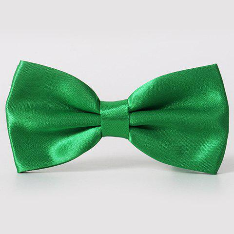 Stylish Men's Solid Color Smooth Satin Bow Tie - GRASS GREEN