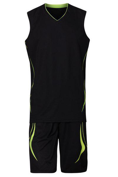 V-Neck Breathable Men's Basketball Training Jersey Set (Top+Shorts) - BLACK 3XL