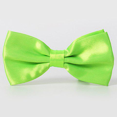Stylish Men's Solid Color Smooth Satin Bow Tie - LIGHT GREEN