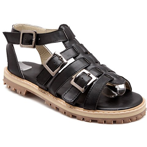 Simple Buckles and Flat Heel Design Women's Sandals - BLACK 38