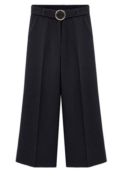 Plus Size Palazzo Pants with O Ring - BLACK XL