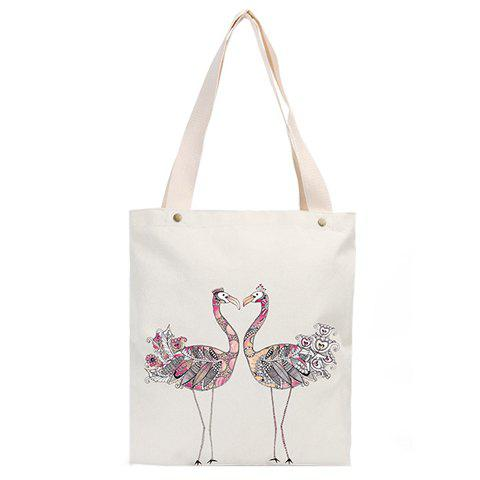 Concise White and Print Design Women's Shoulder Bag - WHITE