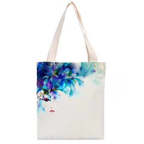 Casual  White and Floral Print Design Women's Shoulder Bag - WHITE