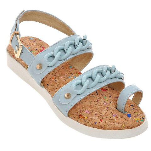 Fashionable Flat Heel and Solid Colour Design Women's Sandals - LIGHT BLUE 39