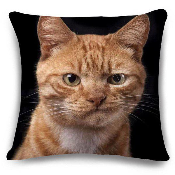 Chic Animals Kitten Pattern Square Shape Flax Pillowcase (Without Pillow Inner) - COLORMIX