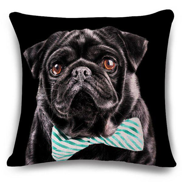 Fashionable Bow Tie Puppy Pattern Square Shape Flax Pillowcase (Without Pillow Inner) - BLACK