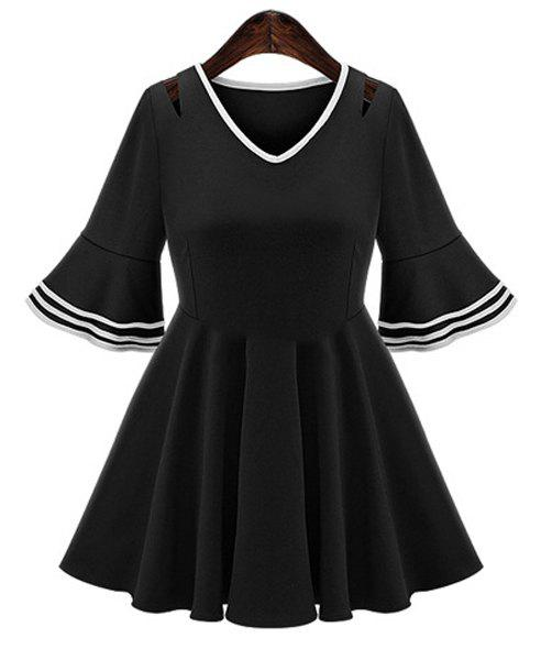 Chic Plus Size Flare Sleeve V Neck Cut Out Women's Dress - BLACK XL