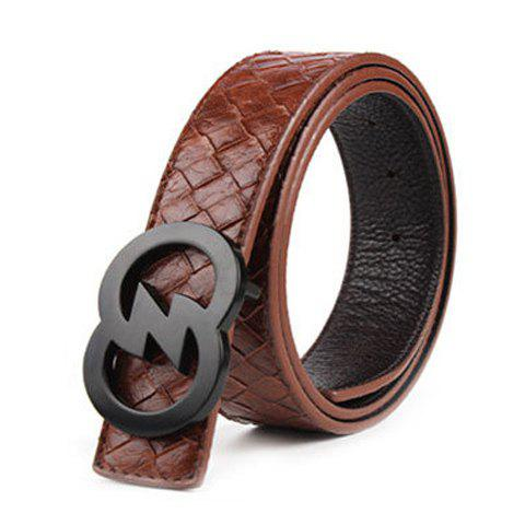 Stylish Hollow Out Black Buckle Weaving Embossing Men's Wide Belt - BROWN