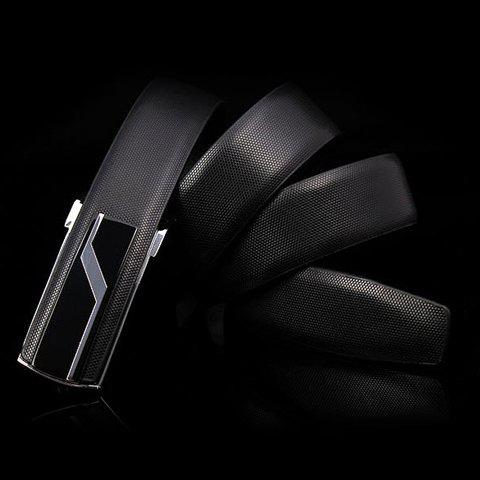 Stylish Lightning Alloy Inlay Buckle Solid Color Men's Wide Belt